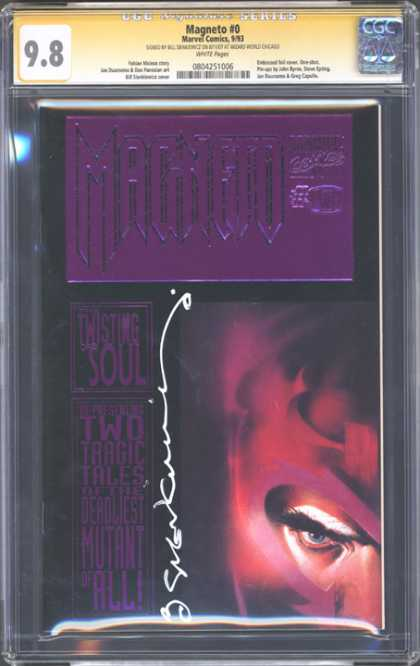 CGC Graded Comics - Magneto #0 (CGC) - Magneto 0 - Twisting Soul - Dark Cover - Deep Purple - Extreme Close-up