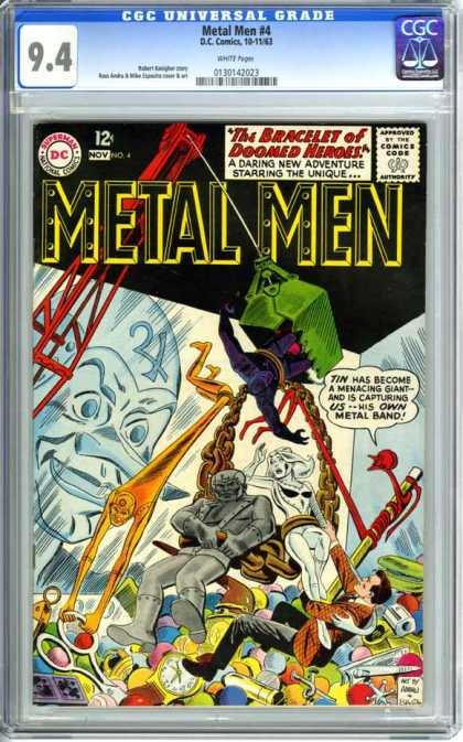 CGC Graded Comics - Metal Men #4 (CGC) - Dc Comics - Metal Men - The Bracelet Of Doomed Heros - Gold Chain - Scissors