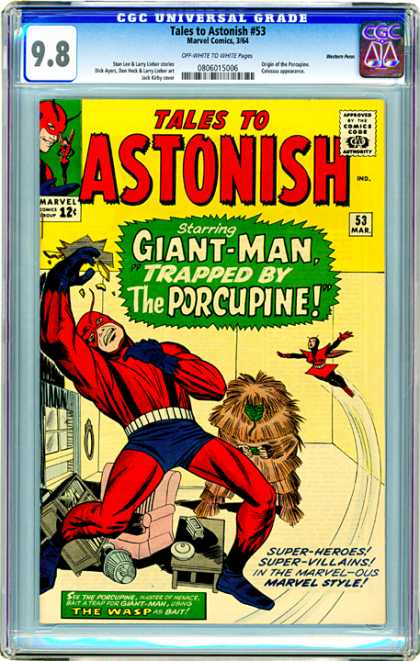 CGC Graded Comics - Tales to Astonish #53 (CGC) - Giant Man - Porcupine - The Wasp - Pink Chair - Attack In House