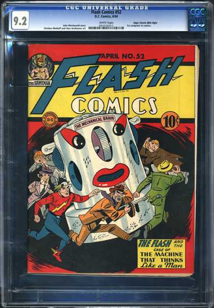 CGC Graded Comics - Flash Comics #52 (CGC) - Flash Comics - The Mechanical Brain - April No52 - The Machine That Thinks Like A Man - Cap