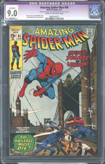 CGC Graded Comics - Amazing Spider-Man #95 (CGC) - Spider-man - Marvel Comics - Spiderweb - Buildings - London