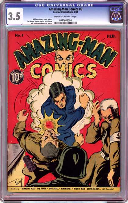 CGC Graded Comics - Amazing-Man Comics #9 (CGC) - Nazis - Amazing-man - Fight - War - Punch