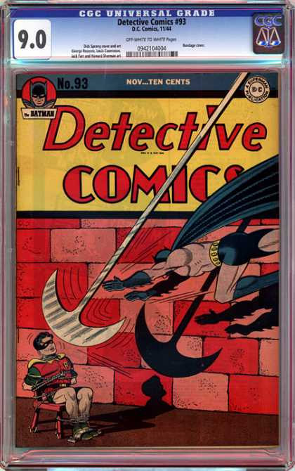 CGC Graded Comics - Detective Comics #93 (CGC) - Batman - Robin - Detective Comics - Hatchet - Tied To Chair