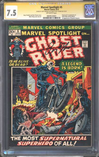CGC Graded Comics - Marvel Spotlight #5 (CGC) - Is He Alive Or Dead - Flaming Head - Ghost Rider - Motorcycle - A Legend Is Born