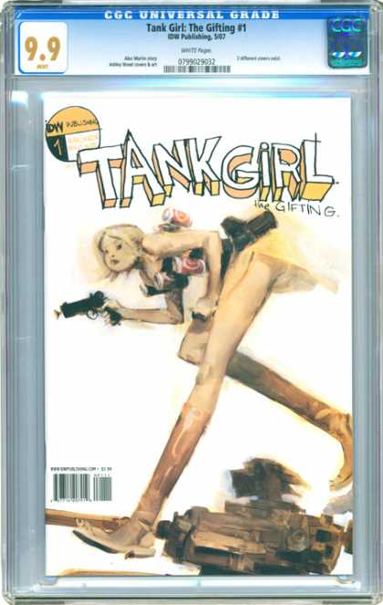 CGC Graded Comics - Tank Girl: The Gifting #1 (CGC) - The Girfting - Legs - Holding Gun - Bending Over - Blonde