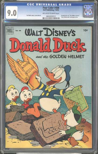 CGC Graded Comics - Four Color #408 (CGC) - Donald Duck - Golden Helmet - Map Of Labrador - Huey Duey And Luey - Stone Tablet With Ship