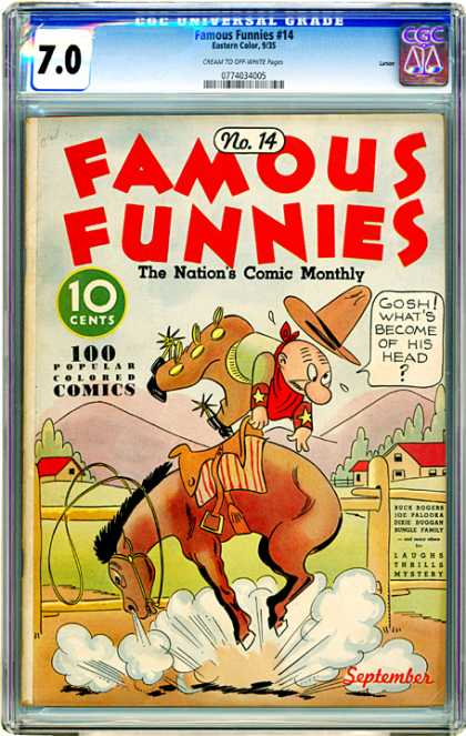 CGC Graded Comics - Famous Funnies #14 (CGC) - Horse - Bucking - Cowboy - Spurs - Ranch