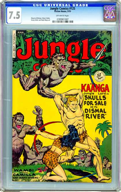 CGC Graded Comics - Jungle Comics #125 (CGC) - Jungle - Kaanga - Jungle Lord - Skulls For Sale On Dismal River - Ape