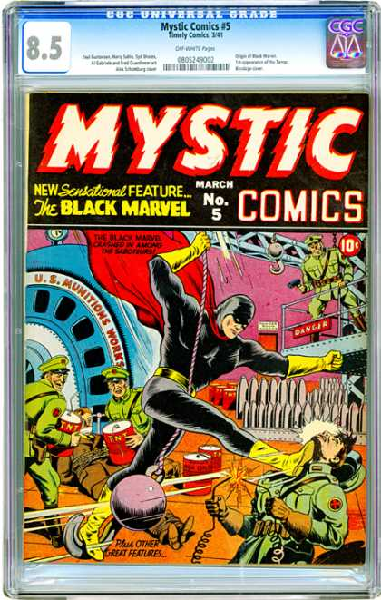 CGC Graded Comics - Mystic Comics #5 (CGC) - Mystic - March - The Black Marvel - 10 Cents - Military