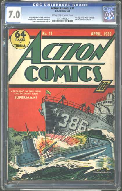 CGC Graded Comics - Action Comics #11 (CGC) - Cgc Universal Grade - April 1939 - Superman - Battle In The Sea - Ship