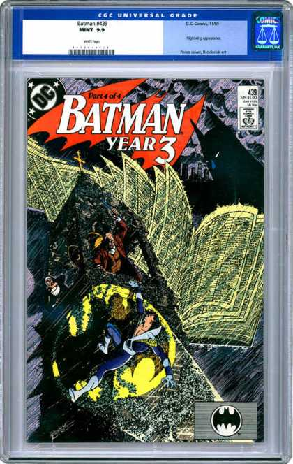 CGC Graded Comics - Batman #439 (CGC) - Part 4 Of 4 - Batman - Year 3 - Darkness - Newspaper