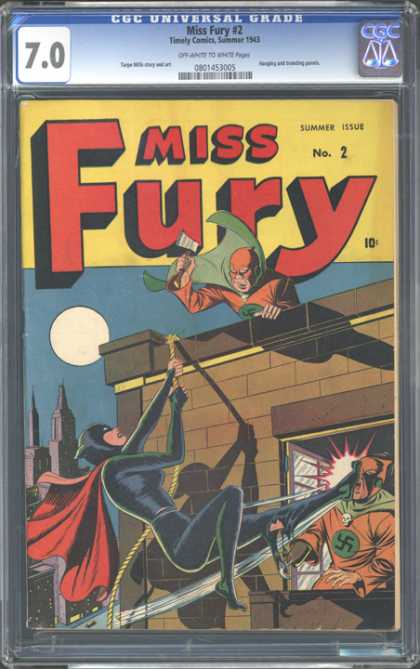 CGC Graded Comics - Miss Fury #2 (CGC) - Superheroes - Kick - Wall - Window - Moon