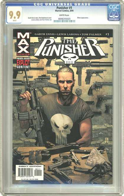 CGC Graded Comics - Punisher #1 (CGC) - Guns - Skull - Man - Punisher - Table