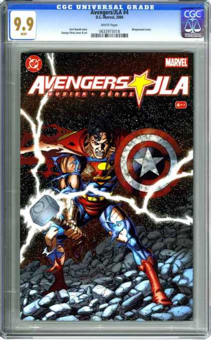 CGC Graded Comics - Avengers/JLA #4 (CGC) - Superma - Shield - Mallot - Lighting - Wounds