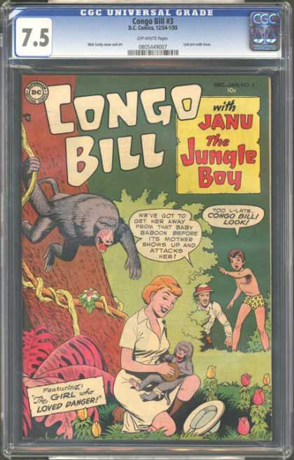CGC Graded Comics - Congo Bill #3 (CGC) - The Girl Who Loved Danger - Janu The Jungle Boy - Too L-late Congo Bill Look - Baboons - Jungle
