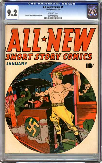 CGC Graded Comics - All New Comics #1 (CGC) - All New Short Story Comics - Train - Nazis - Hero - Fire