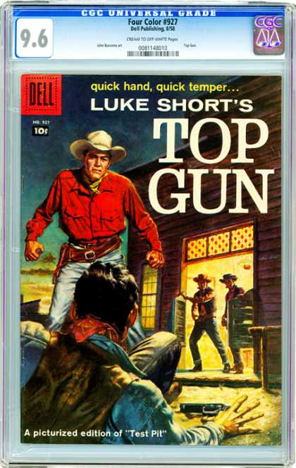 CGC Graded Comics - Four Color #927 (CGC) - Quick Handquick Temper - Like Short - Top Gun - Cowboys - Test Pit
