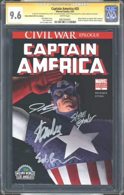 CGC Graded Comics - Captain America #25 (CGC) - Civil War Epilogue - Captain America - Salute - Wizard World Los Angeles - Marvel Variant Edition