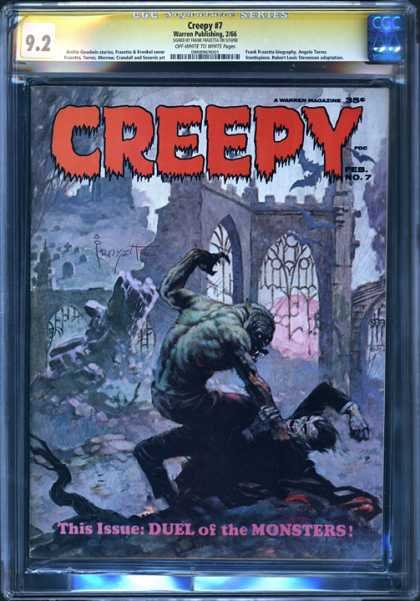 CGC Graded Comics - Creepy #7 (CGC) - Dual Of The Monster - Creepy 7 - Monsters Fighting - Graveyard - Gothic Arches
