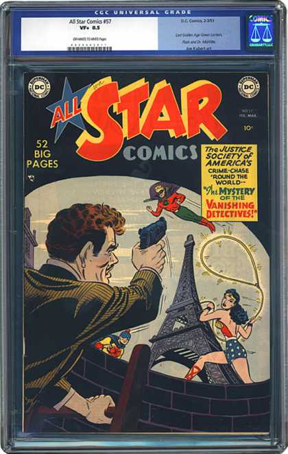 CGC Graded Comics - All Star Comics #57 (CGC) - Wonder Woman - Lasso - Mustache - Eiffel Tower - Gun