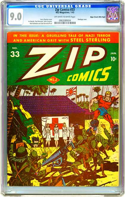 CGC Graded Comics - Zip Comics #33 (CGC) - Zip - Soldier - Nurse - Japan Flag - Trees