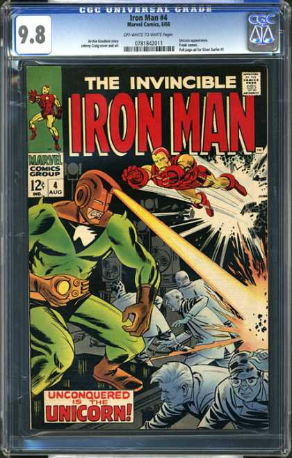 CGC Graded Comics - Iron Man #4 (CGC) - The Invincible Iron Man - Number 4 - August - Unconquered Is The Unicorn - Laser