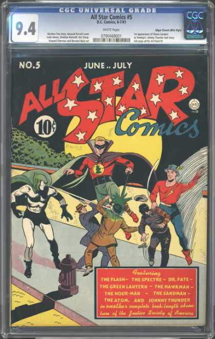 CGC Graded Comics - All Star Comics #5 (CGC) - Green Beam Ignite - In The Face Of Evil Part 6 - In The Dark Of The Night The Stars Ignite - Light Beam - Secret Lasor