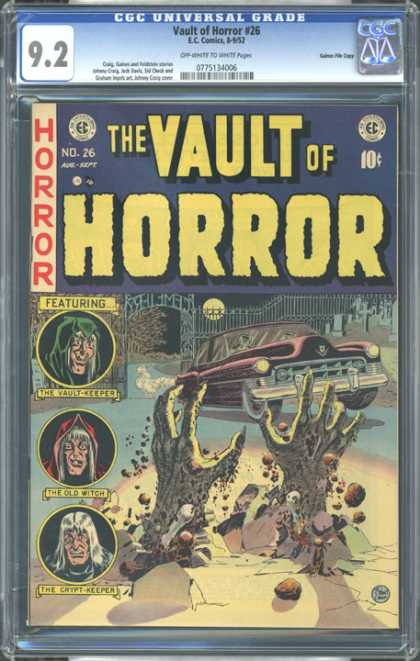 CGC Graded Comics - Vault of Horror #25 (CGC) - The Vault Keeper - The Old Witch - The Crypt Keeper - Car - Monster Hands