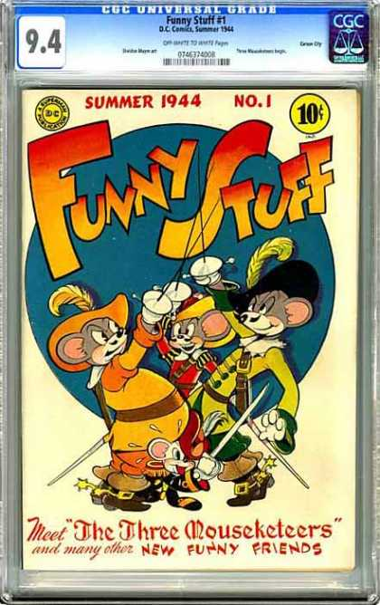 CGC Graded Comics - Funny Stuff #1 (CGC) - Summer 1944 - Funny Stuff - The Three Mouseketeers - New Funny Friends - Superman