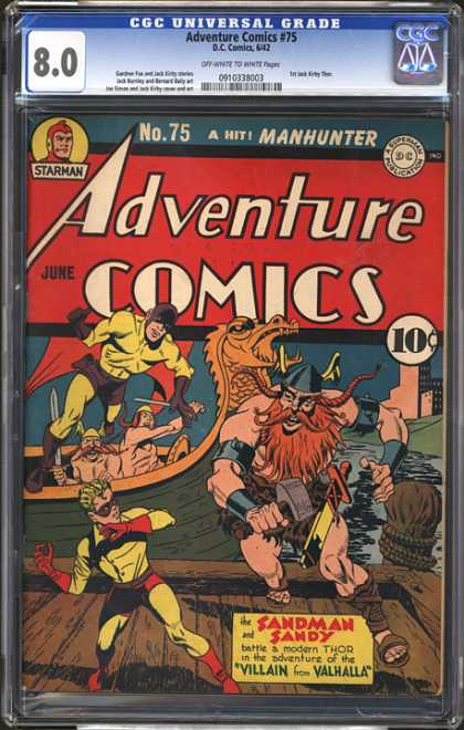 CGC Graded Comics - Adventure Comics #75 (CGC) - Dragon - Adventure Comics - A Hit - Manhunter - Sandman Sandy