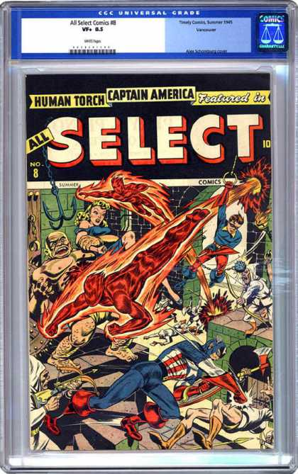 CGC Graded Comics - All Select Comics #8 (CGC) - Human Torch - Captain America - Castle - Woman - Axe
