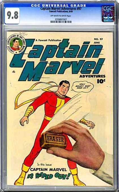 CGC Graded Comics - Captain Marvel Adventures #97 (CGC) - Captain Marvel - Erase - Wipe Out - No More - Gone