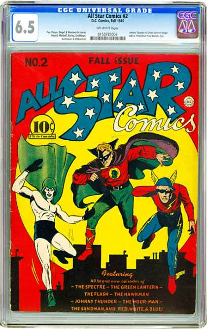 CGC Graded Comics - All Star Comics #2 (CGC) - The Spectre - Johnny Thunder - The Green Lantern - The Flash - The Hawkman