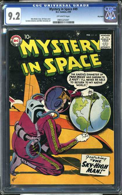 CGC Graded Comics - Mystery in Space #49 (CGC) - Mystery In Space - The Sky-high Man - Space Ship - Earth - 7900 Miles