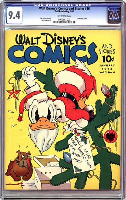 CGC Graded Comics - Walt Disney's Comics and Stories #16 (CGC) - Donald Duck - Christmas Tree - Bulldog - January 1942 - Santa Suit
