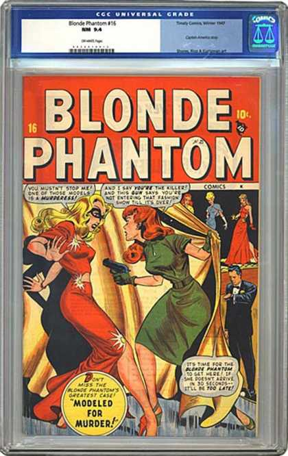 CGC Graded Comics - Blonde Phantom #16 (CGC) - Modeled For Murder - Greatest Case - Gun - Gowns - Blonde