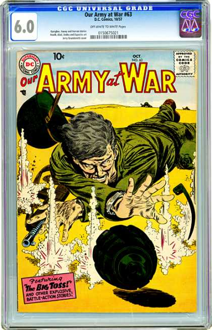 CGC Graded Comics - Our Army at War #63 (CGC) - Soldier - War - Worldwar - Machine Gun - Fighting