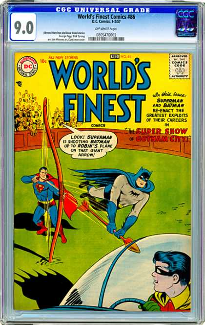 CGC Graded Comics - World's Finest Comics #86 (CGC) - Speeding Arrow - Battle In The Coliseum - Superman Blasts Away Batman - Batman Really Can Fly - Robin Flees The Scene