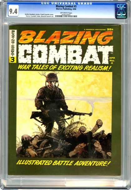 CGC Graded Comics - Blazing Combat #3 (CGC) - Blazing Combat - War Tales Of Exciting Realism - Soldier - Carnage - Guns