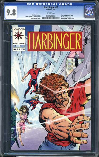 CGC Graded Comics - Harbinger #2 (CGC) - Harbinger - Valliant - Superhuman - Pipes - Woman
