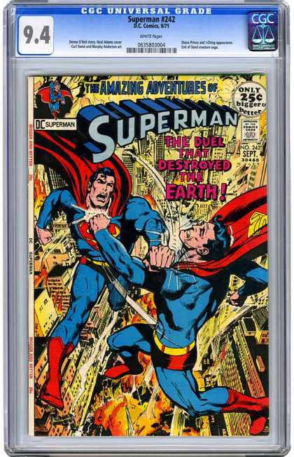 CGC Graded Comics - Superman #242 (CGC) - Man Of Steel - Fighting Each Other - Clones - Double - Explosions