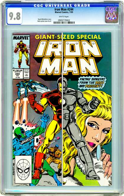 CGC Graded Comics - Iron Man #244 (CGC) - Giant Sized Issue - Mark 1 - Repulsor Rays - Gold And Red Suit - Past And Present