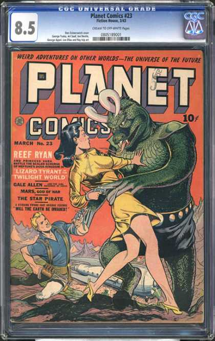 CGC Graded Comics - Planet Comics #23 (CGC) - Planet Comics - Reef Ryan - March - No 23 - Weird Adventures On Other Worlds
