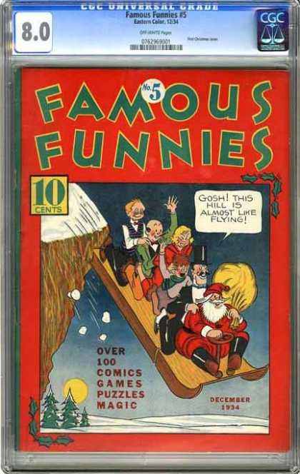 CGC Graded Comics - Famous Funnies #5 (CGC) - Santa Claus - Sleigh - Winter - Fall Off Edge - Snow