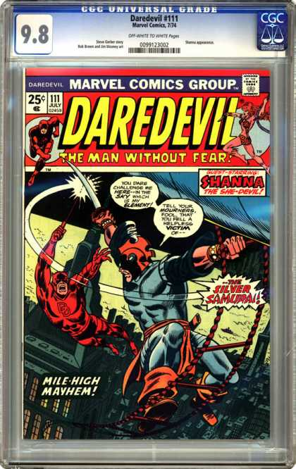 CGC Graded Comics - Daredevil #111 (CGC) - Marvel Comics Group - Daredevil - The Man Without Fear - Shanna - The Silver Samurai