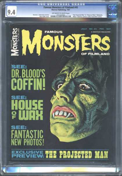 CGC Graded Comics - Famous Monsters of Filmland #45 (CGC) - See Dr Bloods Coffin - The Projected Man - See House Of Wax - See Fantastic New Photos - Fangs
