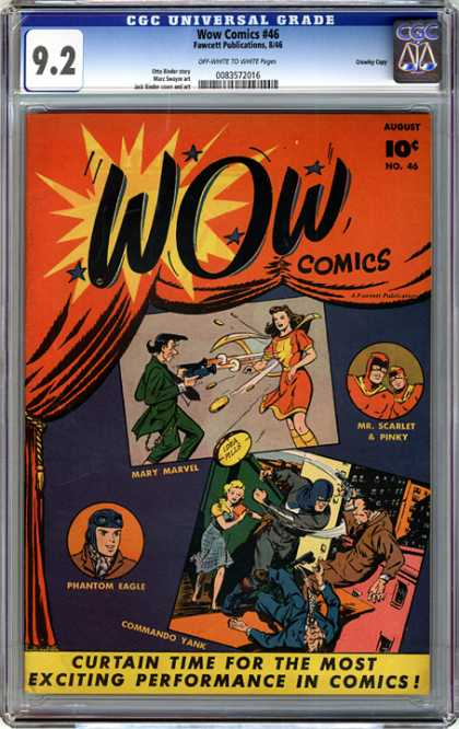 CGC Graded Comics - Wow Comics #46 (CGC) - Wow Comics - Mary Marvel - Mr Scarlet - Phantom Eagle - Commando Yank