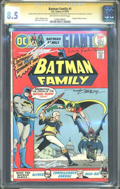 CGC Graded Comics - Batman Family #1 (CGC) - Weapon - Alfred - Man- Bat - Commissioner Gordon - Bike