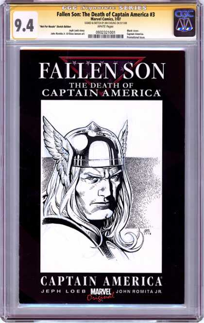 CGC Graded Comics - Fallen Son: The Death of Captain America #3 (CGC) - Wings - Book - Eye - Hair - Man