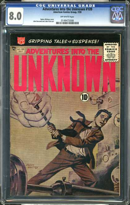 CGC Graded Comics - Adventures Into the Unknown #109 (CGC) - Fist - Man - Suit - Machines - Fear